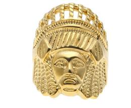 2019 anel de cabeça de ouro indiano Venda quente mais recente liga Homens Do Vintage anel de aço Inoxidável Hip hop Estilo Punk Cor de Ouro Antigo Maya Cabeça Indiano Tribal Anéis de Cabeça Jóias anel de cabeça de ouro indiano barato