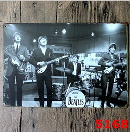 Wholesale Folk Star - Tin Painting Sign Beatles Vintage Tin Poster Music Band Singer Stars Metal Beatlemania Iron Paint Star Walls Decorative Bar Room Signs Beer