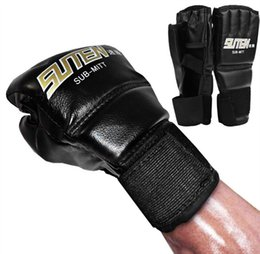 Wholesale Muay Thai Leather Gloves - 1 Pair PU Leather Boxing Gloves Sport Men Half Finger Muay Thai Gloves Mma Kick Boxing Training Boxing Mittens tactical Gloves
