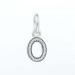Wholesale Dangle Charm Alphabet - Pave AAA CZ Letters O Charm Pendants 925 Sterling Silver Dangle Alphabet O Charms Beads DIY Brand Logo Bracelets Jewelry HB580