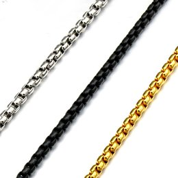 Wholesale 3 mm High Quality Mens Hip Hop Long Black Link Chain k Gold Plated Stainless Steel Chains Necklace For Men Jewelry