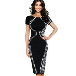Wholesale Pencil Dresses For Sale - Casual Women Colorblock Contrast Short Sleeve Office Business Career Sheath Pencil Bodycon Stretch Patchwork Summer Dresses One for sale