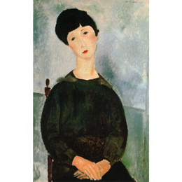 Wholesale Young Girl Oil Paint - Modern woman paintings A young girl Amedeo Modigliani Reproduction Canvas art hand-painted home decor