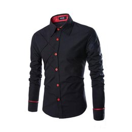 Wholesale Mens Long Sleeve Western Shirts - Wholesale- High Quality Casual Shirts Dress Male Mens Clothing Long Sleeve Social Slim Fit Brand Boutique Cotton Western Button White Black