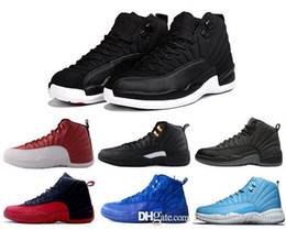 Wholesale Mens Gray Boots - cheap mens basketball shoes air retro 12 man TAXI Playoff ovo white Gray Black Gym barons cherry RED Flu Game sport sneaker boots