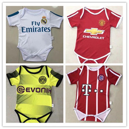 Wholesale baby triangle - kids 17 18 Real Madrid Baby Climb soccer Jersey Cotton Short Sleeved Jumpsuit Baby Triangle Climb Clothes Loveclily 2017 2018 baby's jerseys