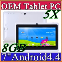 Wholesale Quad Core 7inch - 5X Cheap 7inch Q88 Dual camera A33 Quad Core Tablet PC Android 4.4 OS Wifi 8GB 512M RAM Multi Touch Capacitive Bluetooth Tablet Xmas A-7PB