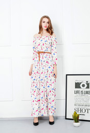 Wholesale Cotton Dresses Stitching Models - 2017 new print dress small fresh pen collar long sleeve belt stitched Muslim long skirt explosion models