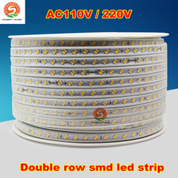 Wholesale Double Rows Waterproof Led Strip - 50m 110v 220v double row smd 5630 5730 3014 2835 led strips fita led strip light waterproof flexible ribbon rope white warm white