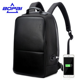 Wholesale port fashion - BOPAI Anti Theft Notebook Backpack External USB Port Men Leather Travel Backpack Waterproof Laptop Backpack School Bag Mochila