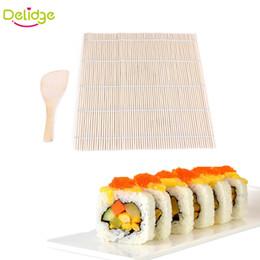 Wholesale Sushi Rice Tools - Delidge 20 Set Sushi Rolling Mat Sushi Japanese Sushi Mold Pad With Spoon Rice Ball Rolling Tool With Rice Paddle Set