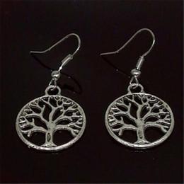 Wholesale Pierced Earring Tree - Antique Silver Tree Of Life Charm Earrings DHL Pierced Ears 925 Silver Fish Ear Hook Chandelier Jewelry