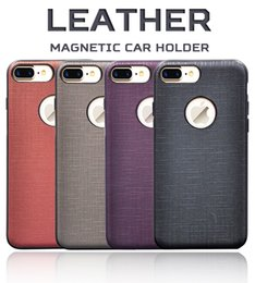 Wholesale Wholesale Leather Handles - Ultra Thin Slim Handle PU Leather TPU Silicone Rubber Metal Hard Back Magnetic Car Holder Smart Cover Case for iPhone 8 7 Plus 4.7 5.5 inch