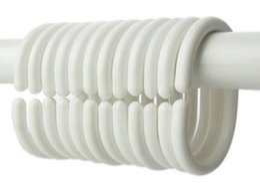 Cintres rideaux en Ligne-Nouvelle arrivée 12pcs / pack crochet de rideau de douche crochet en plastique anneau de bain boucle de boucle de drap