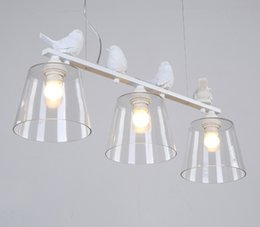 Wholesale country style light fixtures - Country Style Lamp Modern Pendant Light Dining Room Kitchen Home Fixture Resin Bird Glass Lampshade White Iron E27 110-240V LLFA