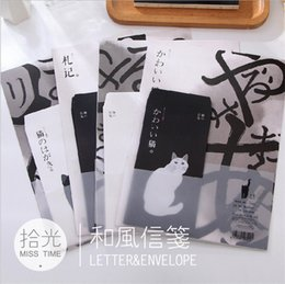 Wholesale Stationery Letter Paper Set - Wholesale- 6pcs Envelopes 12pcs Letter Papers Chinese Ink Painting Black White Cat Vintage Gift Envelope Set Office School Stationery WZ