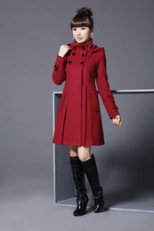 Wholesale Noble Coats - Women Outerwear Coat Women's Jacket Fashion Wool Cashmere Winter Noble Long TRENCH Coat 4 Color 6 Size HOT SELL Free Shipping