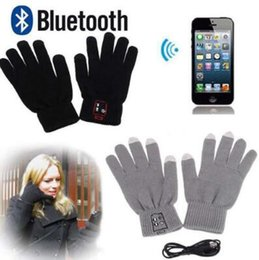 Wholesale Multi Headphone - 2 Colors Smart Bluetooth Glove Wireless Touch Screen Talking Magic Gloves Bluetooth Stereo Headphone With Mic 2pcs pair CCA7471 30pair