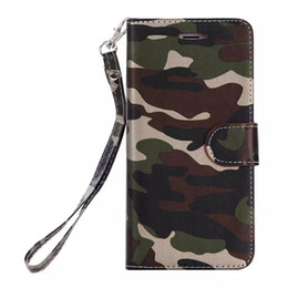 Wholesale Camo Wallets - Camo camouflage Wallet Leather For Iphone 7 7Plus 6 6S SE 5 5S Galaxy S7 Edge S6 Card Slot Cash Skin Holder Stand Pocket Strap Flip Cover