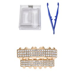 Wholesale Trendy Top Sale - Factory Direct Sales Rose Gold Plated Top & Bottom Hip Hop Exaggeration 3 Rows Rhinestone Teeth Dental Grills Sets