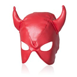 Wholesale Latex Sex Masks - Sexy Red Adult Games Latex Faux Leather Sex Mask Men and Women Animal Bondage Fetish Mask Erotic Toys Sex Products For Couples