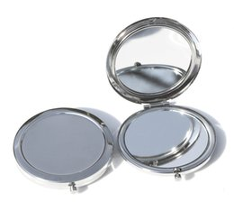 Wholesale Compact Mirror Silver Round - 2017 Free Shipping 70mm Pocket Compact Mirror favors Round Metal Silver Makeup Mirror Promotional Gift