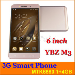 Wholesale Cheap Cell Phone Screens - YBZ M3 Cheap 6 inch MTK6580 Quad Core Android 6.0 Cell Phone 1GB 4GB Dual SIM WCDMA unlocked 960*540 big screen phablet Smart phone + case