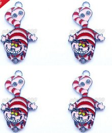 Wholesale Metal Charms Pendants Cat - New 10 Pcs Set Cartoon Alice In Wonderland Cat DIY Rhinestone Metal necklace Pendants A--57