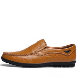 Wholesale Yellow Dress Shoes Men - Size 38-44 Men Loafers Fashion Black Brown Mocassim Masculino Slip On European Mens Dress Shoes D30