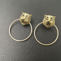 Wholesale Night Earrings - New brand Vintage Metal Leopard Stud Earrings for Women Fashion Jewelry Gold earring circle ring pendant Club night brincos bijoux 2017