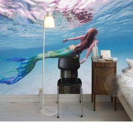 2019 arte murale 3d carta da parati personalizzata per pareti 3 d Art HD Mermaid mare cristallino nuotata soggiorno sfondo 3d grande muro murale carta da parati arte murale 3d economici
