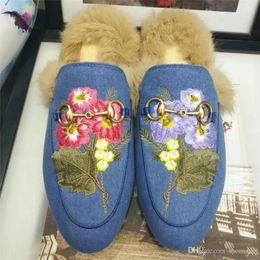 Wholesale Animal Print Booties - Newest 2017 Denim Blue Women Real Fur Winter Slippers Embroidery Flower Brand Moccasins Ladies Horsebit Luxury Flat Loafers M30