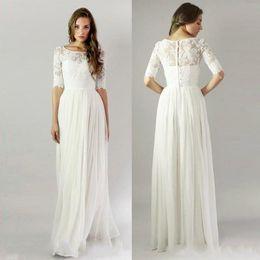 2016 cheap Beach Wedding Dresses Lace chiffon 1 2 Long Sleeve Bridal Gowns Sheer Neck Floor Length Simple Cheap Custom plus size holiday dre