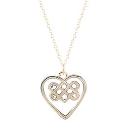 Wholesale Couple Necklace Design - 10pcs lot Unique Charming Design Jewelry Love Couple Necklace Vintage Heart Knot Pendant Necklaces for Women Best Gift