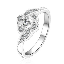 Wholesale Bloom Party - Free shipping Wholesale 925 Sterling Silver Plated Fashion Love bloom ring Jewelry LKNSPCR156-8