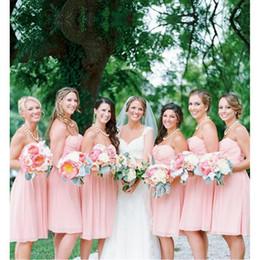 Vestidos de dama de honor de la boda de playa corto Sexy 2017 Vestido de novia de una línea de gasa Sweetheart de una línea de color rosa desde fabricantes