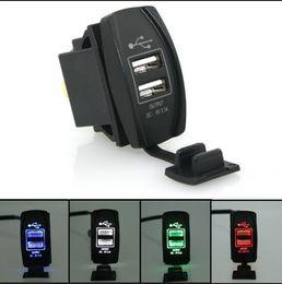 Wholesale 12 Volt Outlet Adapter - Wholesale- Car Motorcycle Charger Adapter Plug Socket Splitter 12-24V Double USB 5V Power Outlet LED Light Charging For Mobile Phone