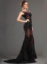 Wholesale Evening Dress Party Grown - Black Lace Appliques Shiny Crystal Mermaid Evening Dress 2017Exquisite Sheer Tulle Vestido de Festa Longo Party Grown Prom Dress