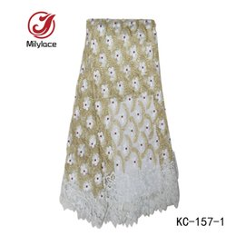 Wholesale Tulle Material Wholesale - Popular design african tulle lace embroidery lace fabric beads net mesh lace for bridal dress material KC-157