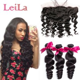 Wholesale Cheap Hair Lace Closure Piece - Cheap Brazilian Human Virgin Hair Loose Wave 3 Bundles with Lace Frontal 13 X 4 Closure 4 Pieces lot Hair Wefts Weave