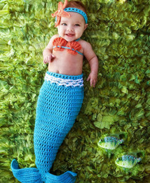 Wholesale Mermaid Costume Accessories - newborn photography props baby Costume Mermaid Infant baby photo props Knitting fotografia newborn Hats crochet outfits accessories