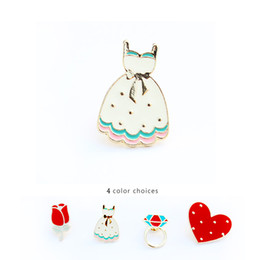 Wholesale Heart Jeans - Wholesale- Free Shipping Cartoon Cute Rose Heart Skirt Brooch Pins Button Pin Jeans Clothes Decoration For women Girl Gift Fashion Jewelry
