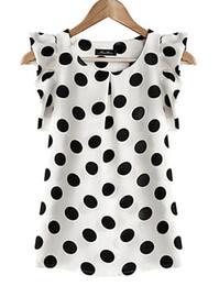 Wholesale Spot Shirt - Pleated sleeves, T-Shirts, fungus sides, Princess sleeves, chiffon shirts, sweet Polka spots, chiffon vests, tops,A variety of colors