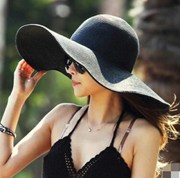 Wholesale Raining Blue - Fashion Sun Hat Women's floppy hats Foldable Wide Large Brim Floppy bucket hat Summer Beach Sun Straw Hat Cap 5 pcs free shipping