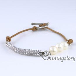 Joyería conmuta online-Pulsera de perlas blancas pulsera de bohemia pulseras boho joyería nupcial joyería de perlas de agua dulce joyería al por mayor bohemia
