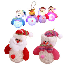 Wholesale Crystal Bear Doll - Wholesale-1 Pc Kids Cute Novelty Crystal Light Up LED Santa Claus Snowman Elk Bear Nightlight Toys Christmas Decoration Doll Pedant Gifts