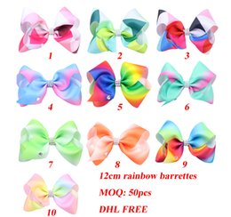 Wholesale Hair Ribbon Dhl - DHL FREE 12cm Girls Rainbow Bow Clips 10 colors Baby Bubble Flower Ribbon Bowknot Hairpin Kids Large Barrette Hair Boutique Bows Children