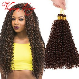 Wholesale weave extension synthetic - Synthetic Braiding Hair Curly Weave 14inches 30roots pack Crochet Hair Extension Freetress Synthetic Water Wave Bulk Hair Crochet Braids