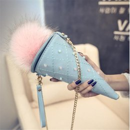 Wholesale Quilted Leather Clutch - Wholesale- 2016 Women Ice cream Bags Cones Phone Bag Fashion PU leather Small Quilted Clutch Ladies Chain Shoulder Messenger Crossbody Bag