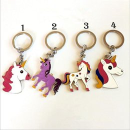 Wholesale Trendy Antique Ring - Unicorn Metal Key Ring Key Chain Jewelry Antique Silver Plated horse unicorn kids Bag Pendant YYA600